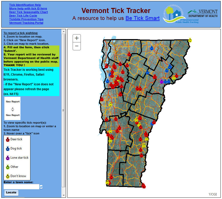Image of the VDH Tick Tracker App