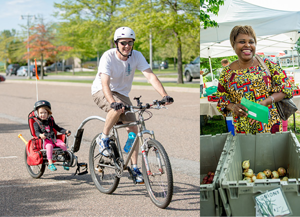 photo collage of active health Vermonters