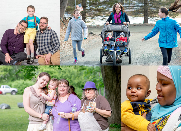 photo collage of Vermont families