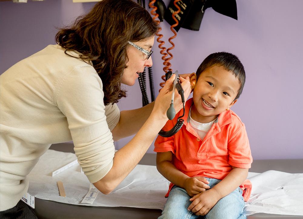 child getting ear exam