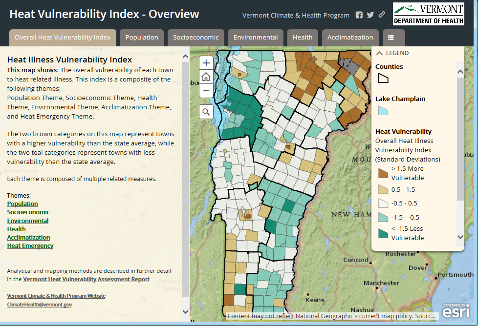 Vermont Heat Vulnerability Index Tracking EPHT Climate Change