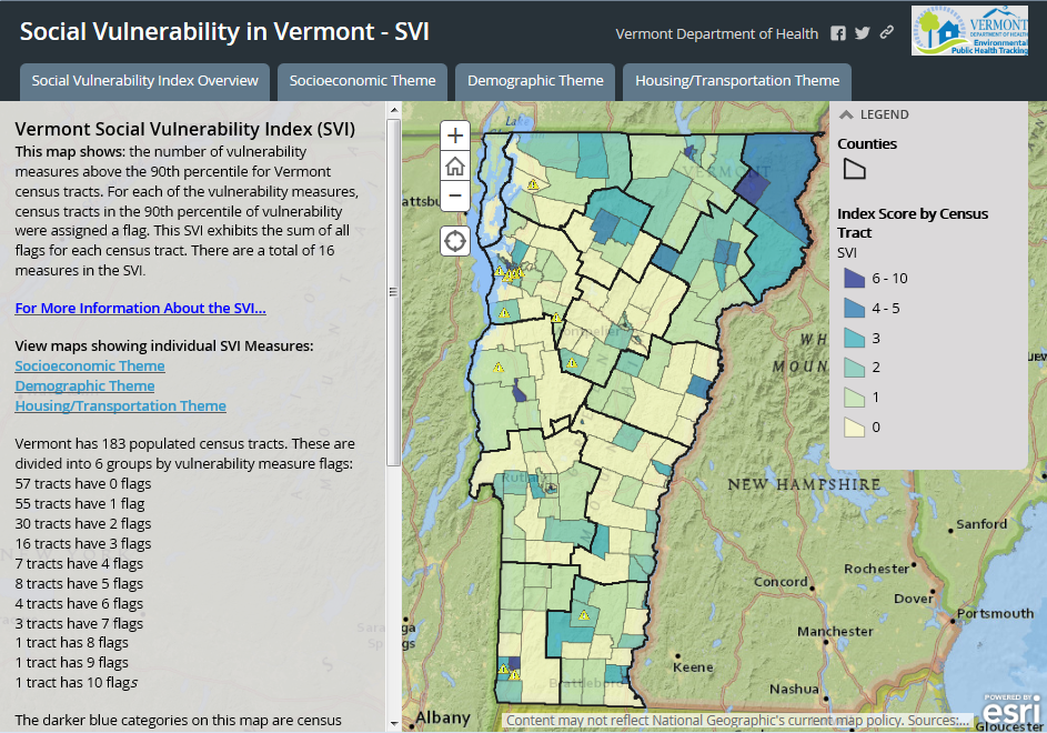 Vermont Social Vulnerability Index Tracking EPHT Health