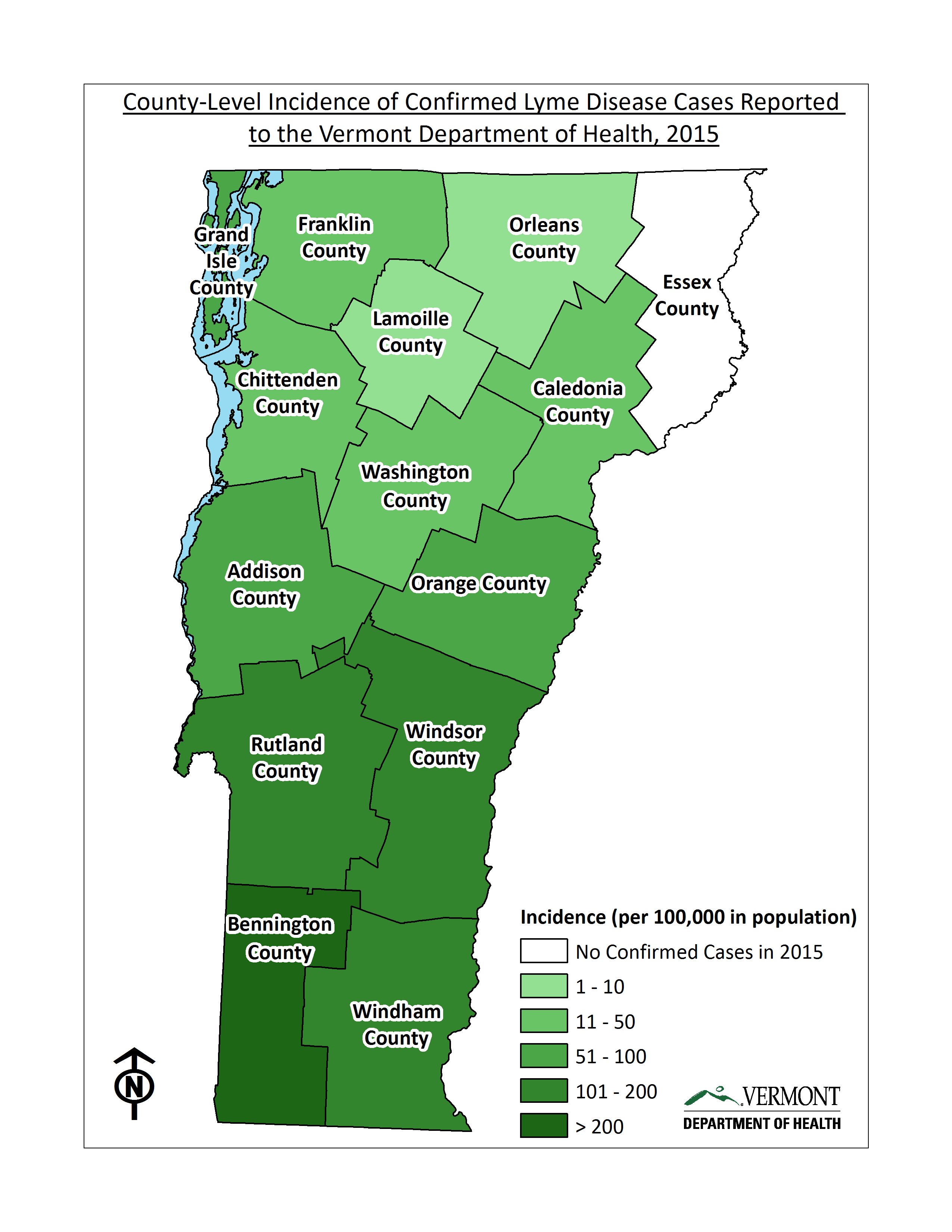 County-level incidence of confirmed Lyme disease cases reported to the Vermont Department of Health, 2015.