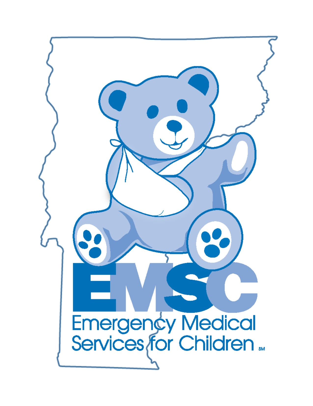 Emergency Medical Services for Children logo- a blue bear with an arm sling