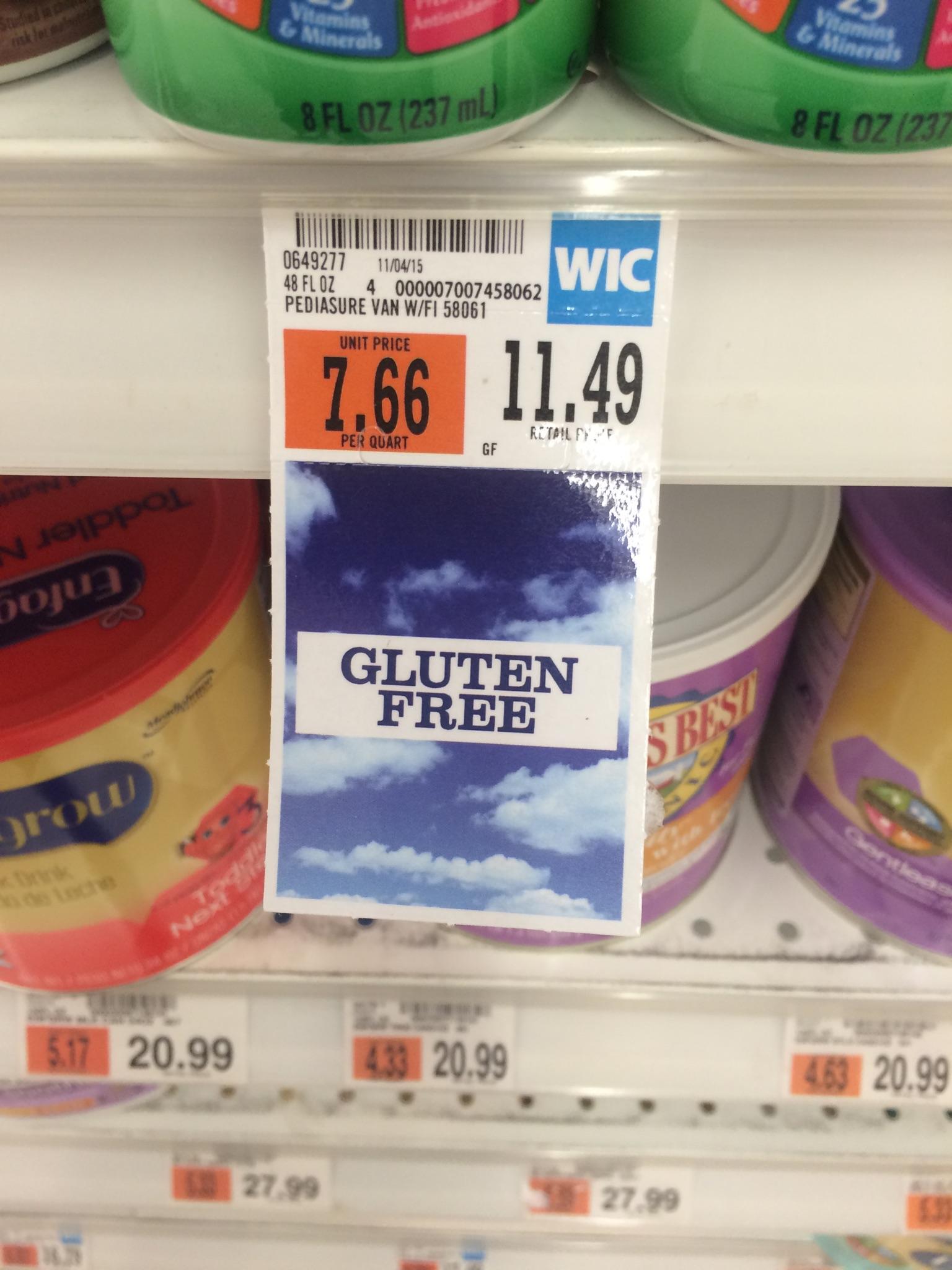 WIC shelf tag at Price Chopper