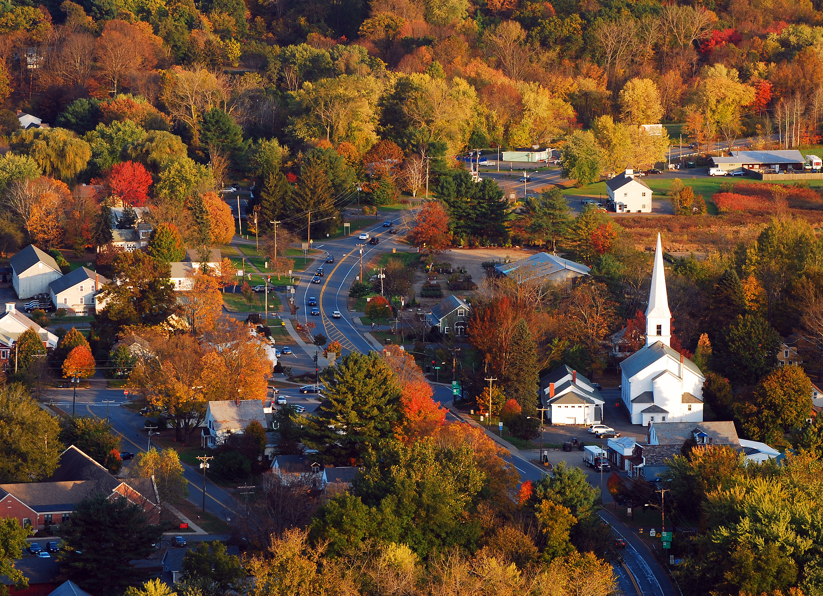 arial view of rural Vermont town