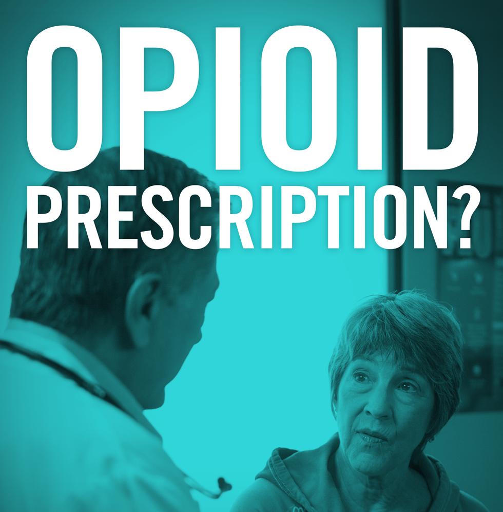 Doctor and patient having a conversation about opioid prescription.