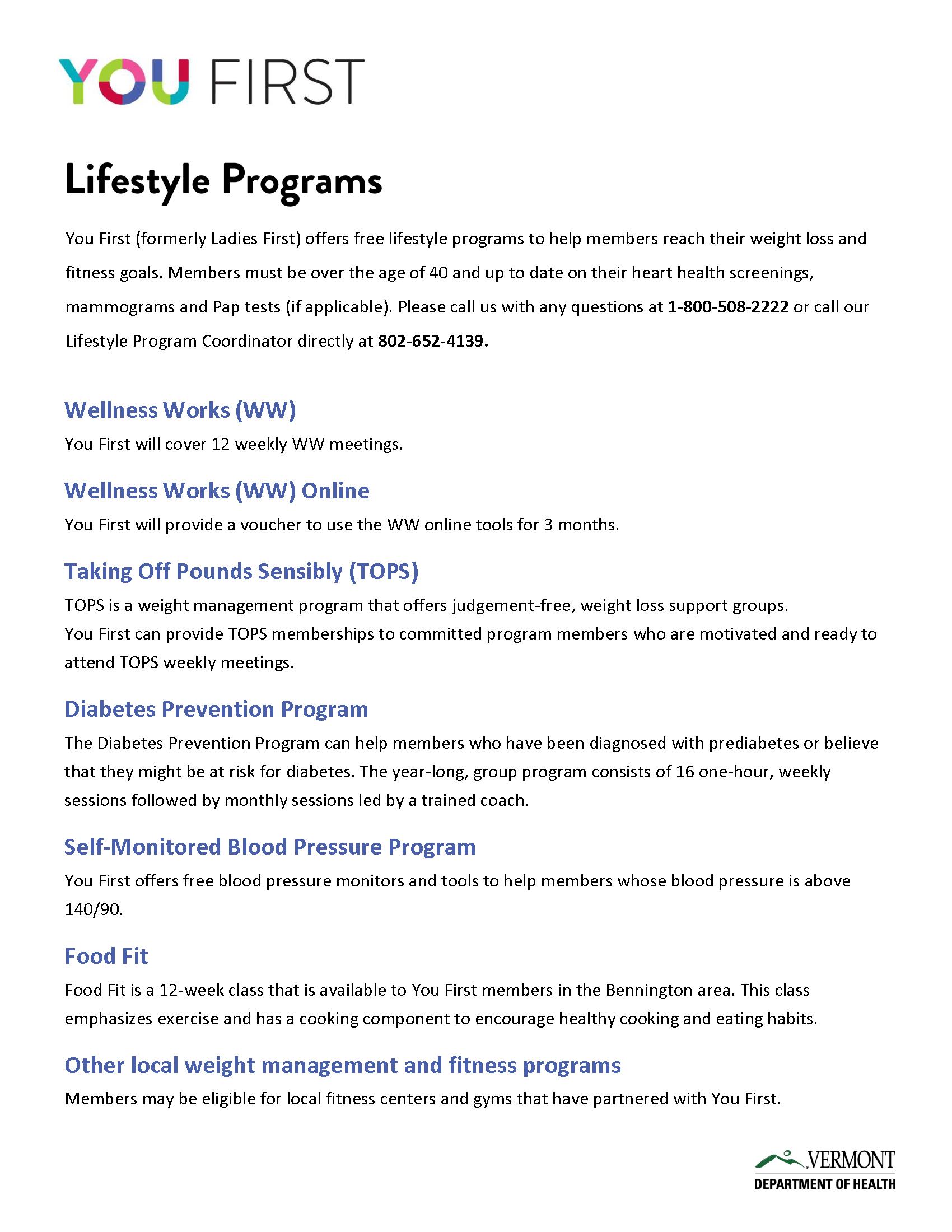 Lifestyle Program Options Handout