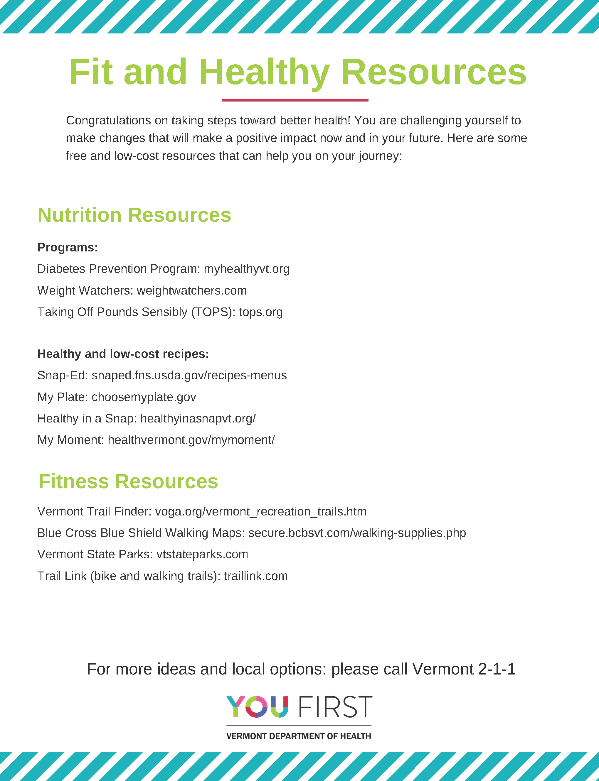 Nutrition and Fitness Resources Handout