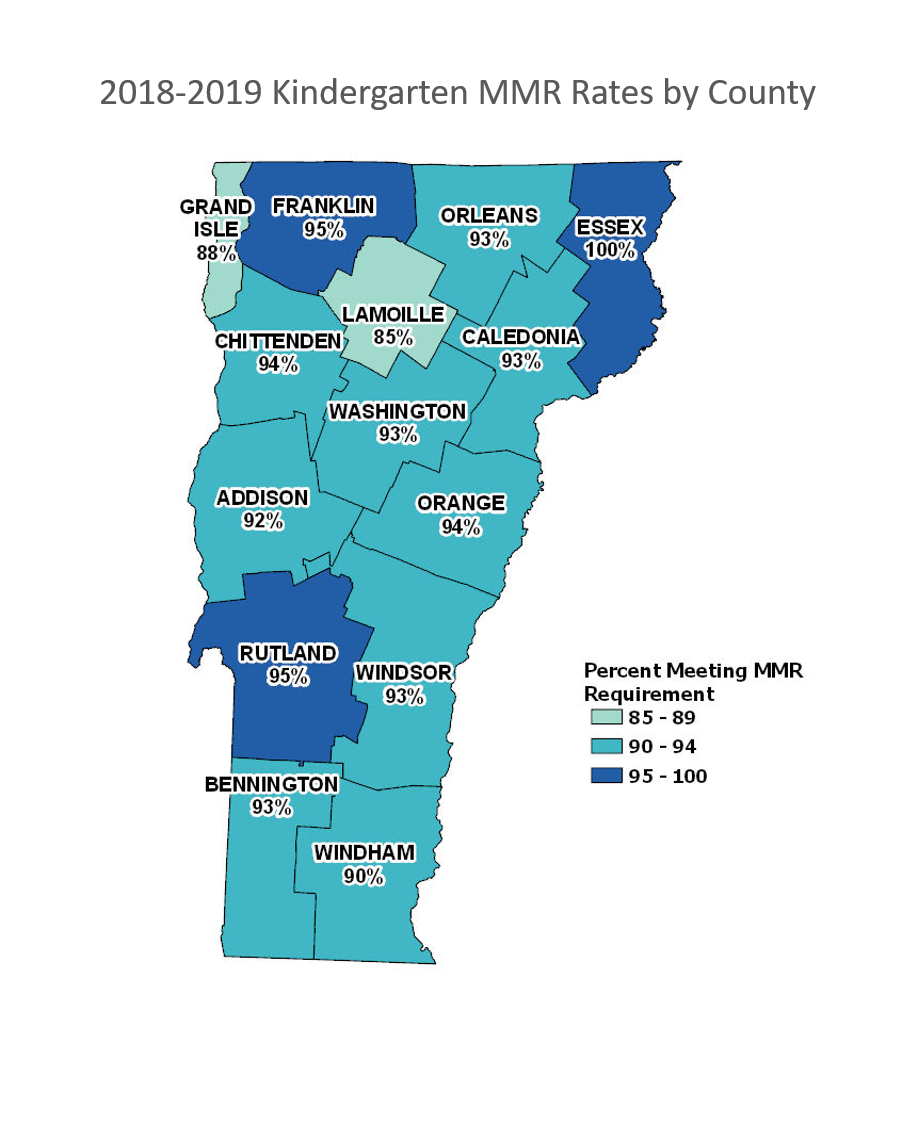 2018-2019 Kindergarten MMR Immunization Rates