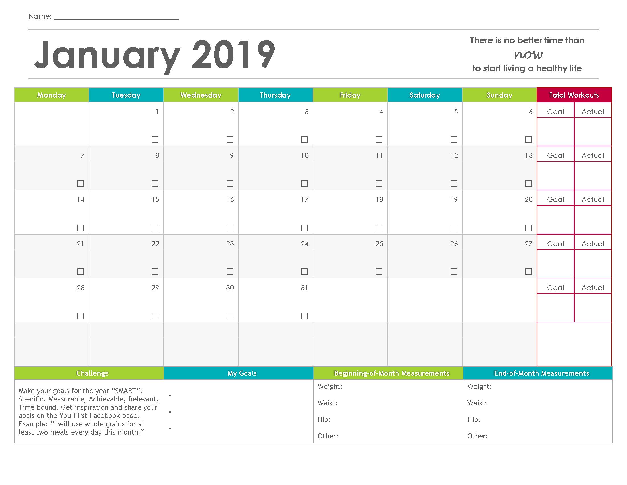You First Fitness Calendar