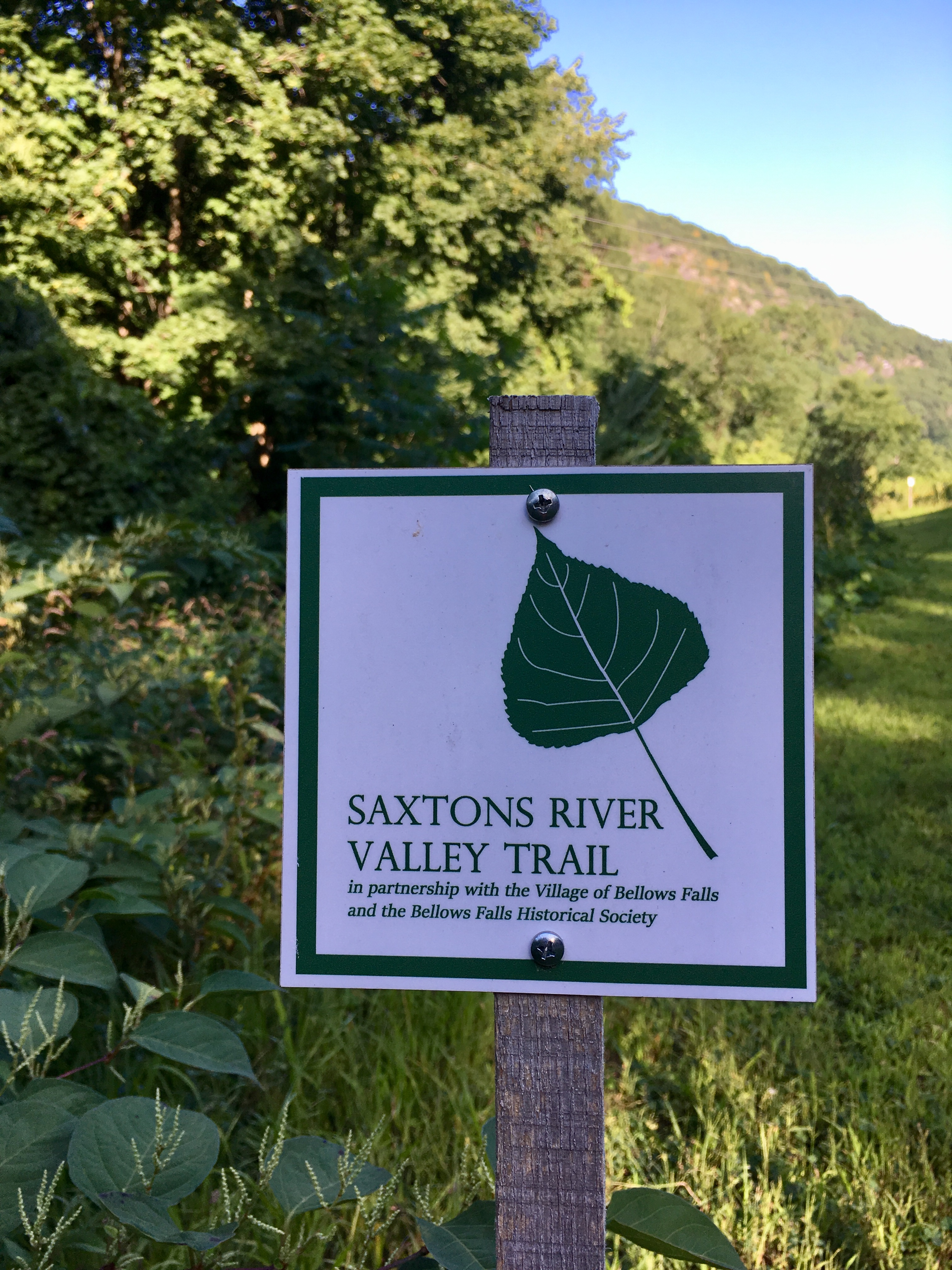 Saxtons River Valley trail sign