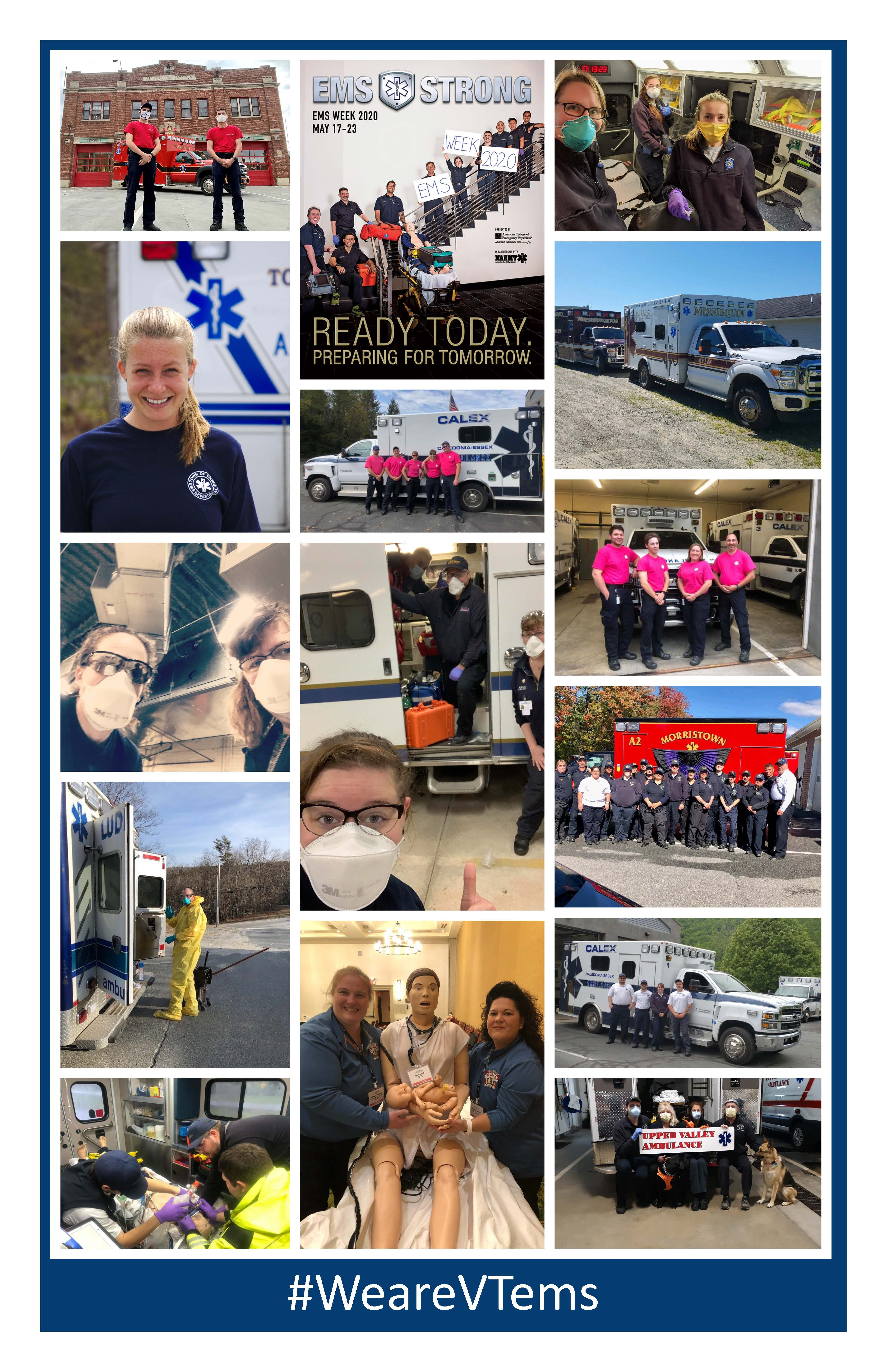 Photo collage of Vermont emergency medical services professionals and ambulance vehicles