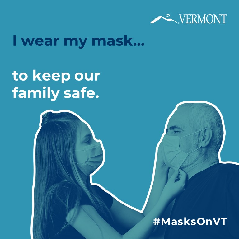 """I wear my mask to keep my family safe"" young woman putting mask on older man"