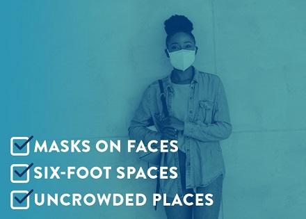 """woman with mask """"Masks on Faces, 6 foot spaces, uncrowded places"""""""