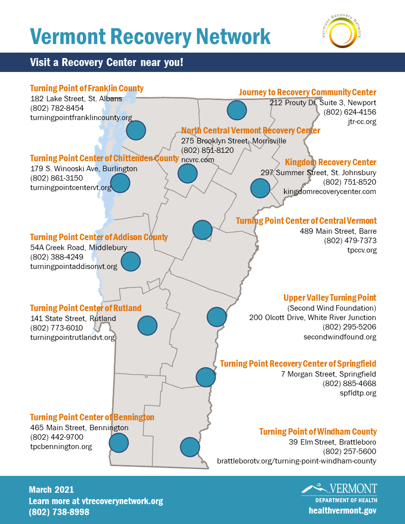 Vermont Recovery Network Map
