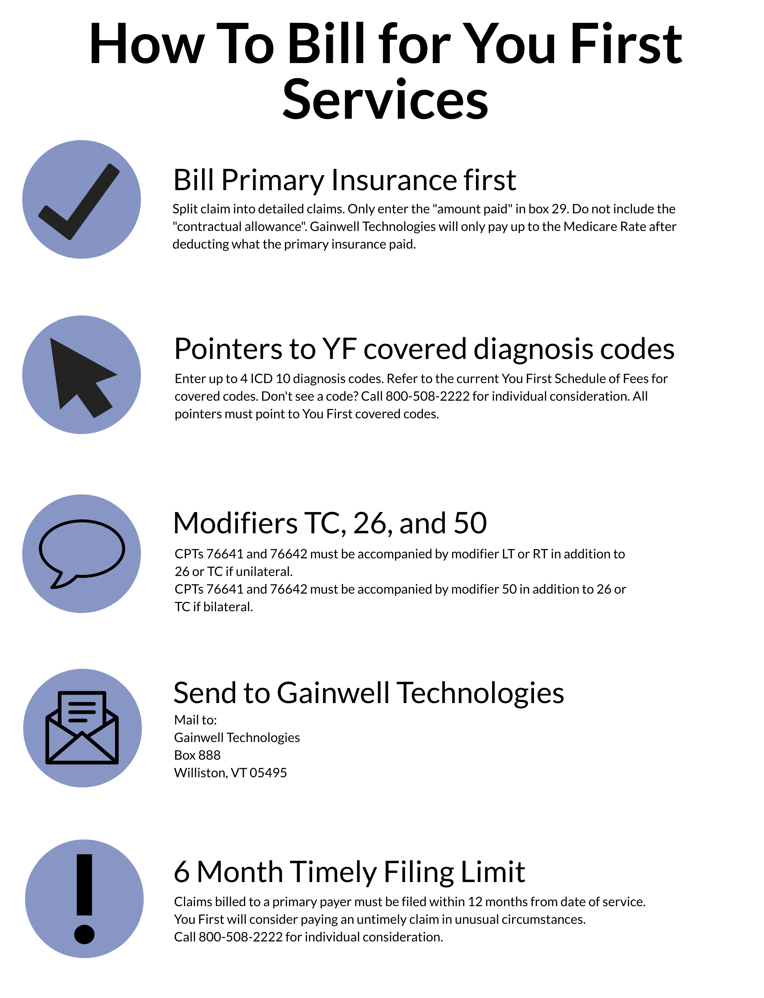 Steps for billing for You First services