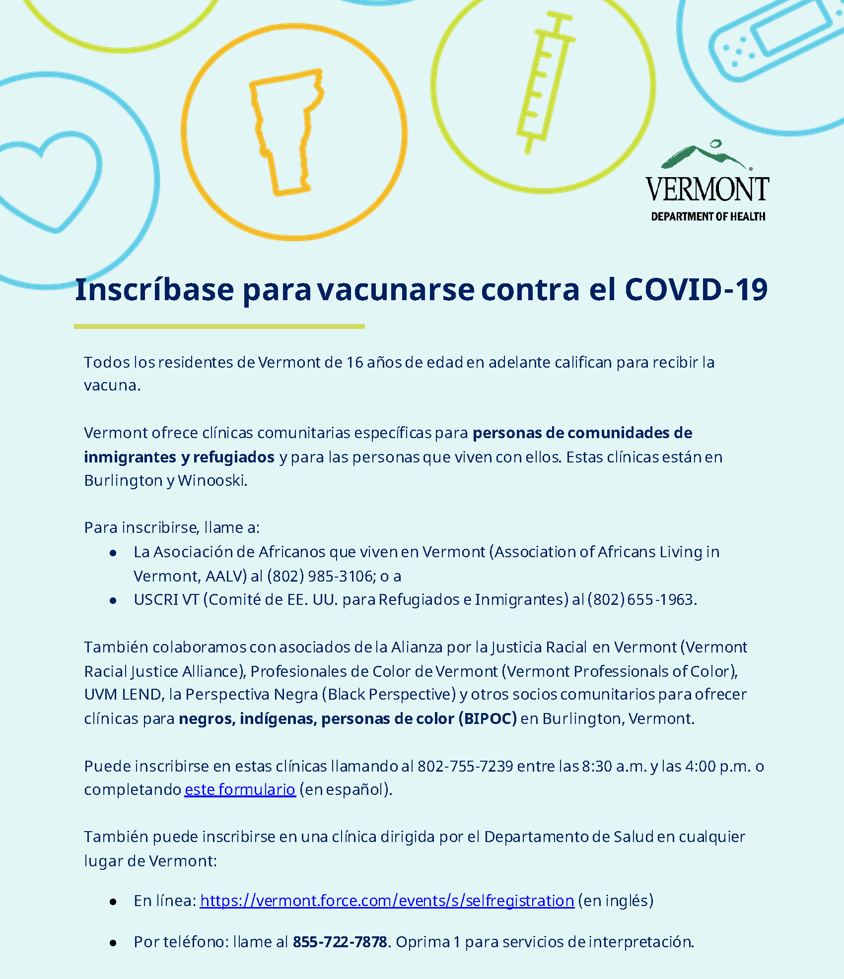 Vaccine registration info - Spanish