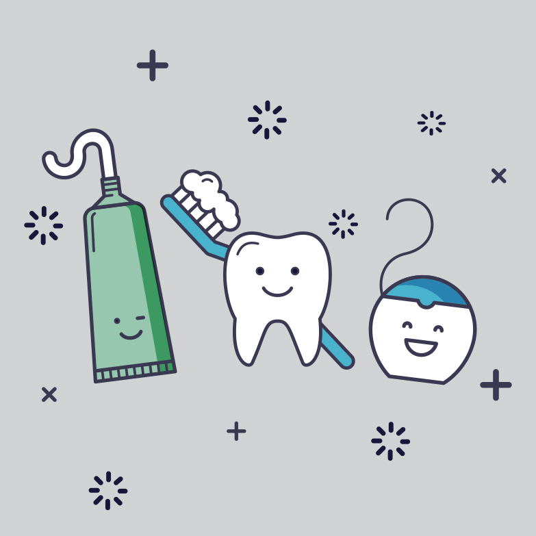 toothpaste, tooth, and floss