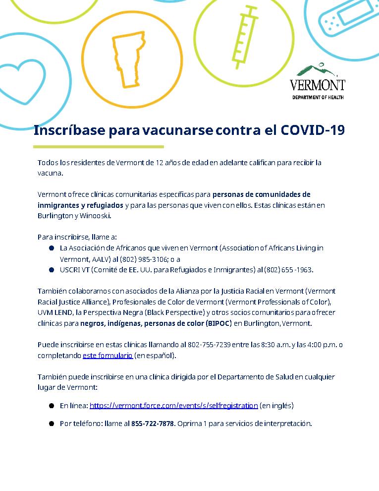 vaccine registration info - Spanish