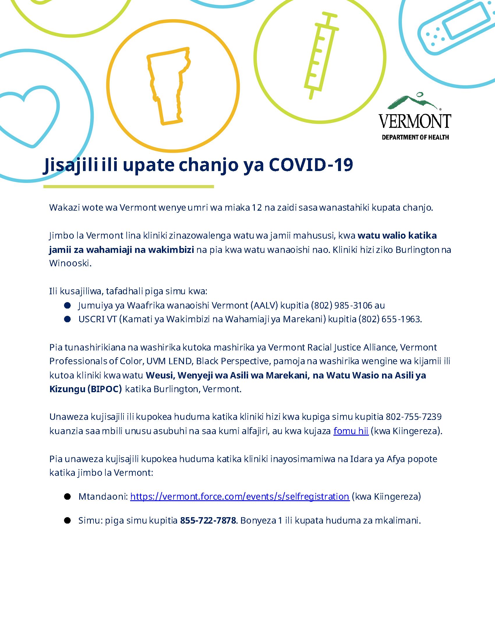 vaccine registration info - Swahili