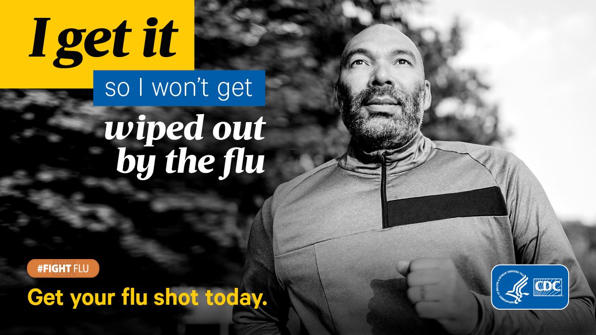 """Black and white image of a man with text that reads, """"I get it so I won't get wiped out by the flu."""""""