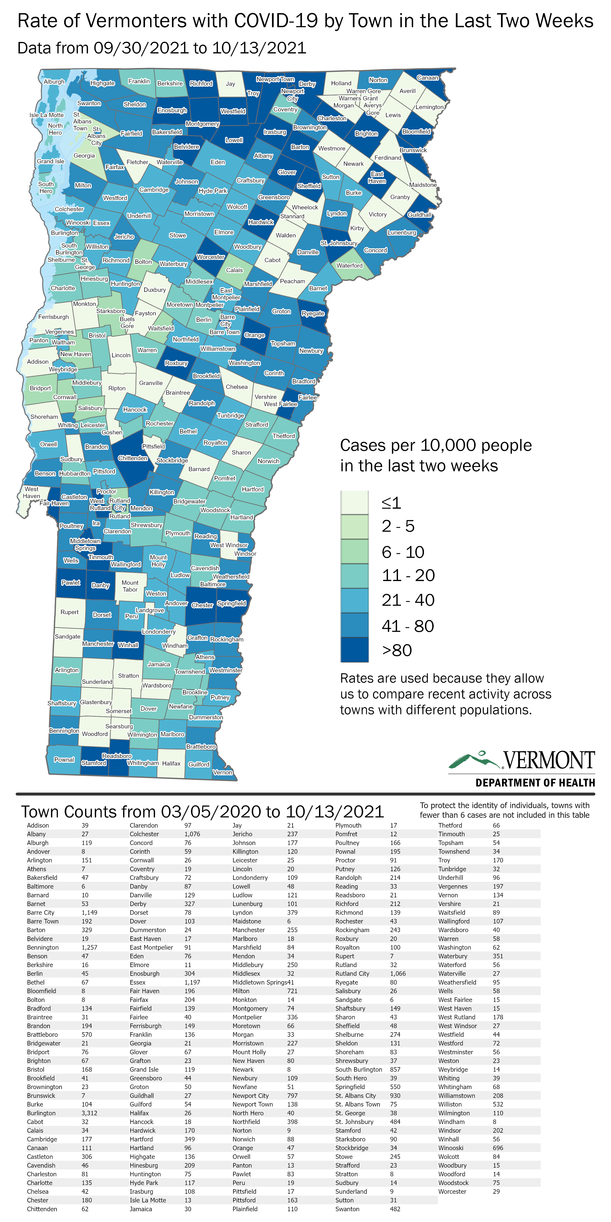 Vermont map with case rates by town