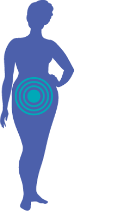 body silhouette with cervix highlighted