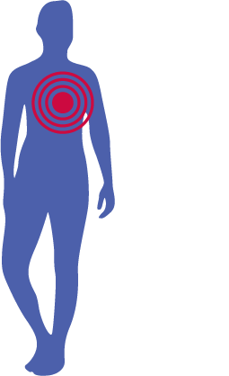 body silhouette with heart area highlighted