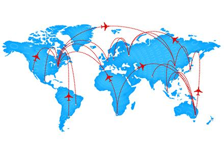 World map showing air travel routes.