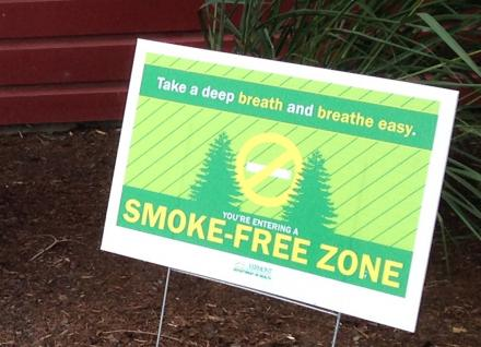 Smoke-free zone sign