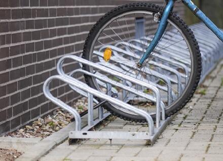 bike rack with bike wheel