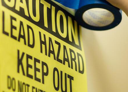 Caution Lead Hazards sign