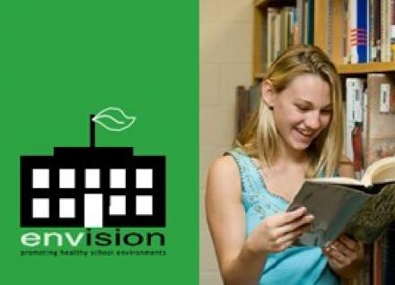 Envision Program logo and girl reading book