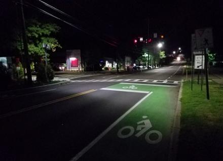 bike lane at night
