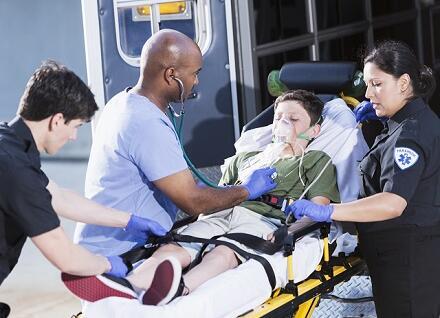 emergency responders helping child