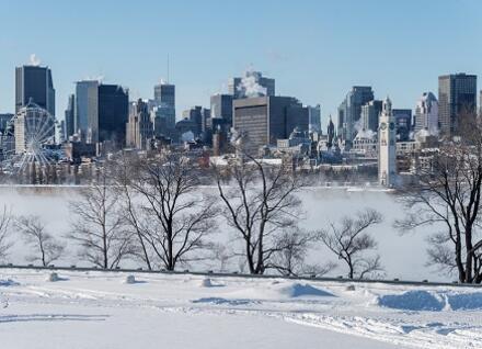 Montreal seen across river, in winter