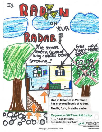1st Place VT Radon Poster Contest: showing how radon seeps into house from the ground.