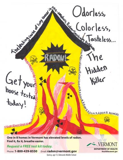 3rd Place VT Radon Poster Contest: showing how radon seeps into house from the ground.