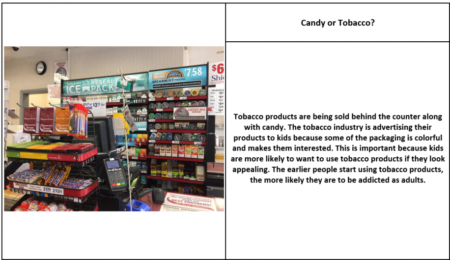 Tobacco Product display behind a convenience store counter