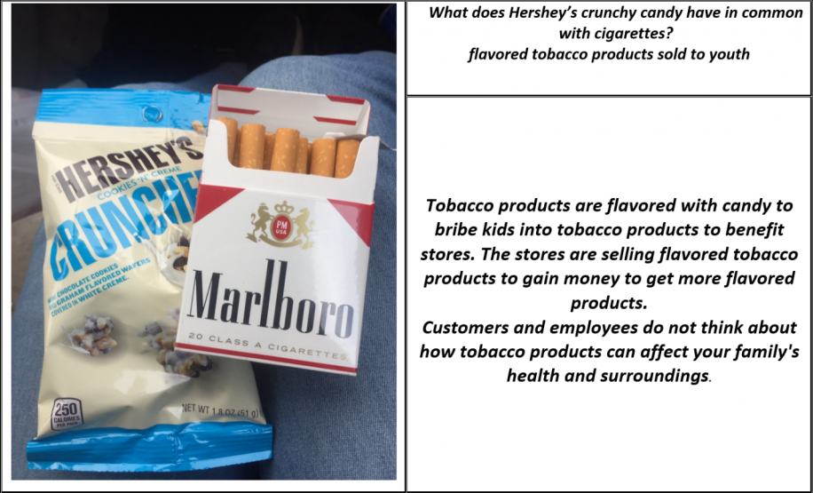 "A pack of Marlboro Red cigarettes next to a snack package of Hershey's ""Cookies N' Cream Crunchers"