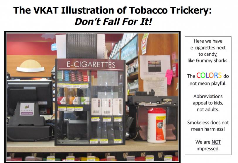 E-Cigarette Display on convenience store counter next to cash register
