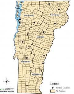 Map of flu sentinel sites in Vermont