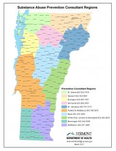 Map of Prevention Consultant regions in Vermont and phone numbers.