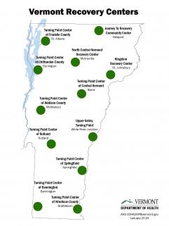Map of Recovery Center locations in Vermont.