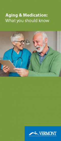 aging and medications brochure cover + image of older adult discussing health with older adult health care provider