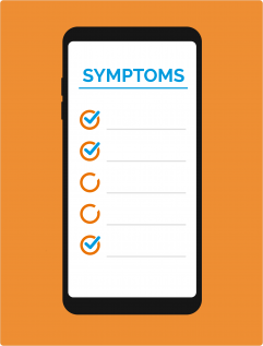 "phone icon, reads ""Symptoms"""