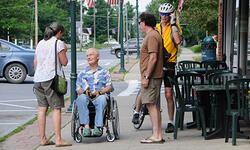 street conversation in Bristol, VT